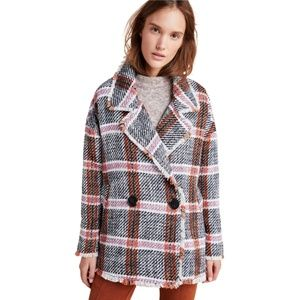 NWT Eva Franco Carrie Double Breasted Tweed Coat